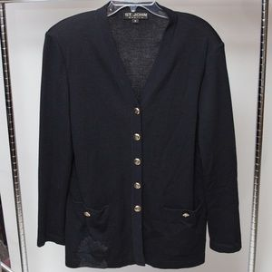 St. John Basics Buttoned Sweater Cardigan Size 12